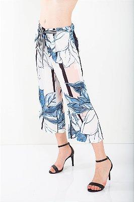 Calça Bana Bana Pantacourt com Amarração Estampada Azul