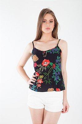 Blusa Bana Bana de Alça Estampa Floral Preta