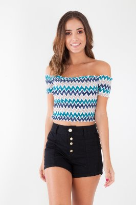 CROPPED CASUAL LASTEX - PATTERN
