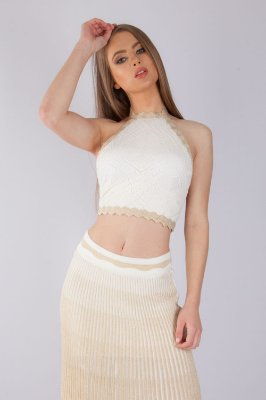 Cropped Bana Bana Frente Única Tricô Off white