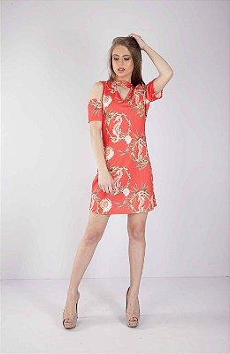 Vestido Bana Bana Curto com Gola Chocker Estampado Coral