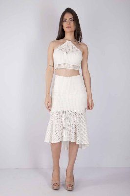 Cropped Bana Bana Frente Única de Renda Off White