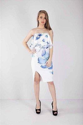 Vestido Curto Bana Bana Ombro a Ombro Off White Floral
