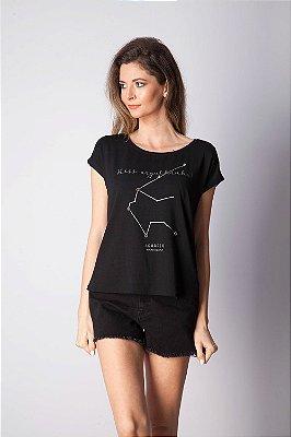 T-Shirt Bana Bana com Estampa de Signo Aquário Preta