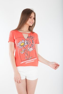 T-SHIRT CASUAL OLD - CORAL