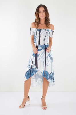 VESTIDO LONGO HAPPY HOUR - STRIPES MAXI FLOWERS
