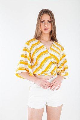 Blusa Bana Bana Listrada e Transpassada Amarela