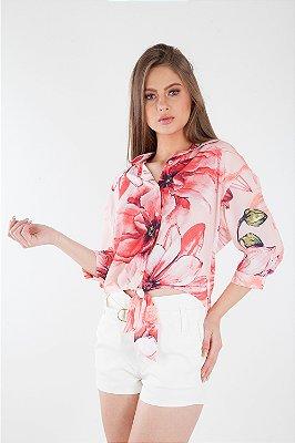 Camisa Bana Bana com Amarração Estampada Rosa