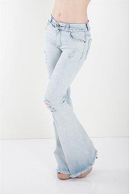 Calça Jeans Bana Bana Midi Flare com fenda Azul