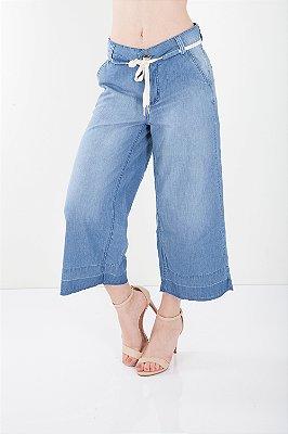 Calça Jeans Bana Bana Pantacourt com Cadarço Azul
