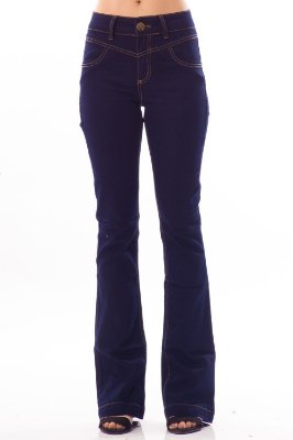 Calça Jeans Bana Bana Midi Boot Cut com Recorte Azul