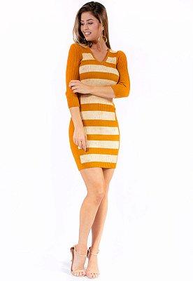 Vestido Tricot Bana Bana Marmorizado Mostarda