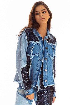 Jaqueta Jeans Bana Bana com Recortes e Paetê Azul