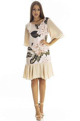 Vestido Bana Bana Curto com Leve Peplum Bege