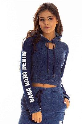 Blusa Bana Bana Moletom Jeans com Capuz