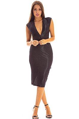 Vestido Midi Bana Bana com Decote V