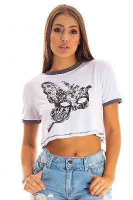 Cropped Bana Bana T-Shirt com Estampa Branca