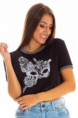 Cropped Bana Bana T-shirt com Estampa Preto