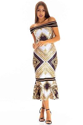 Vestido Midi Bana Bana Estampado com Tricot