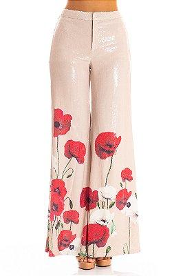 Calça Alfaiataria Bana Bana Pantalona de Paetê Estampado