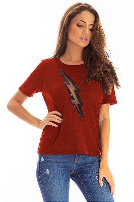 T-Shirt Bana Bana com Recorte Ferrugem