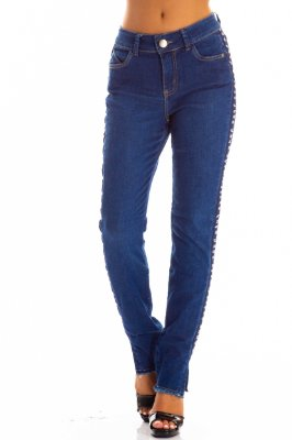 Calça Jeans Bana Bana Midi Skinny com Letreiro