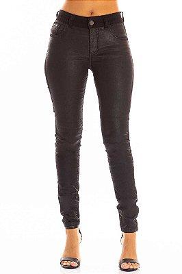 Calça Jeans Bana Bana Midi Skinny Resinada Preta
