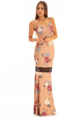 Vestido Bana Bana Longo com Abertura nas Costas Estampado Bege