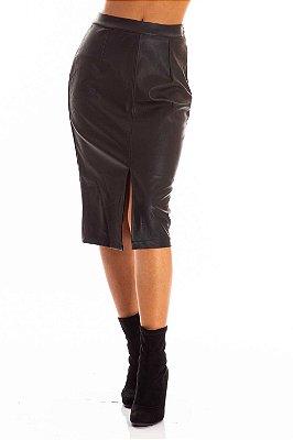 Saia Bana Bana Midi em Leather com Cinto Preta