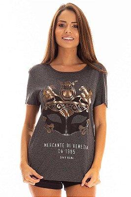 T-Shirt Bana Bana Estampa Veneza Cinza