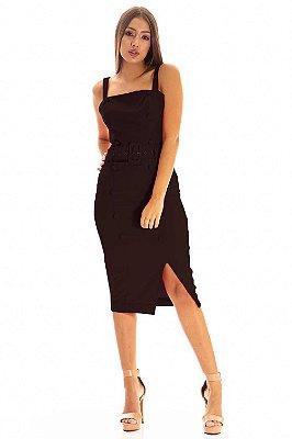 Vestido Bana Bana Midi com Abertura e Cinto Preto