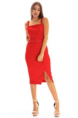 Vestido Bana Bana Midi com Abertura e Cinto Vermelho