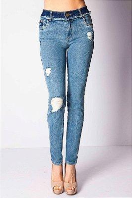 Calça Jeans Bana Bana Midi Skinny com Puídos