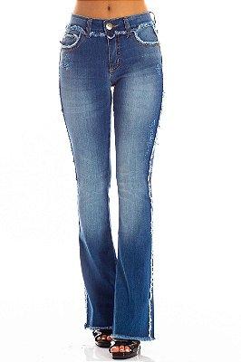 Calça Jeans Bana Bana Midi Boot Cut com Desfiado