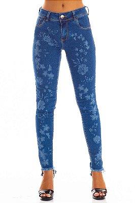 Calça Jeans Bana Bana Midi Skinny com Estampa Laser