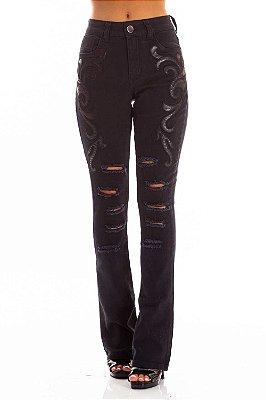 Calça Jeans Bana Bana High Boot Cut com Aplicação