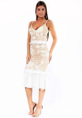 Vestido Midi Bana Bana Jacquard Off White