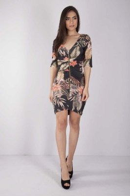 Vestido Curto Bana Bana com Zíper Estampa Floral