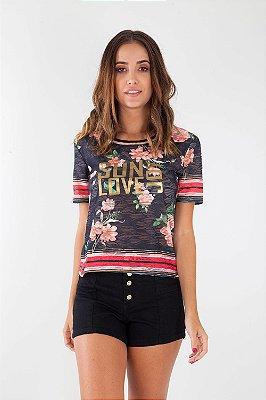 T-Shirt Bana Bana com Estampa Floral Preta