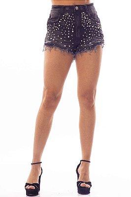 Shorts Jeans Amanda Bana Bana Festival com Tachas Preto