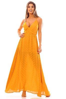 Vestido Longo Bana Bana com Abertura e Detalhe Costas