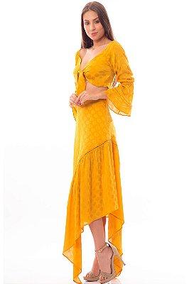 Saia Bana Bana Longa Assimétrica com Detalhe em Guipir Amarela