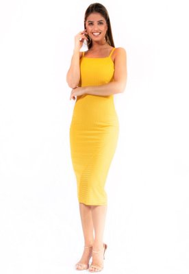 Vestido Midi Bana Bana Canelado Amarelo Izamal