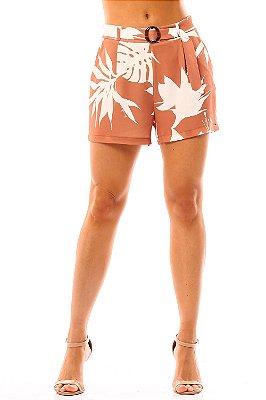 Bermuda Alfaiataria Bana Bana com Cinto Estampa Floral Amêndoa