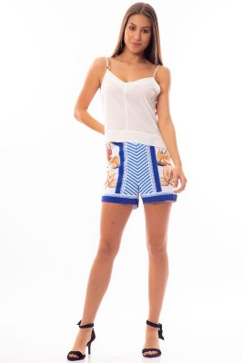 Shorts Bana Bana Hot Pants Estampado Azul