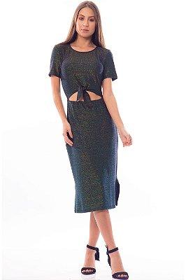 Vestido Midi Bana Bana Lurex com Amarração Preto