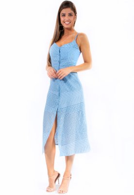 Vestido Midi Bana Bana Laise Azul