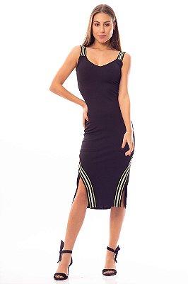 Vestido Midi Bana Bana Preto com Detalhes Neon