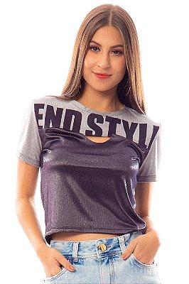 T-Shirt Bana Bana com Recorte Preto e Cinza