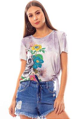 T-Shirt Bana Bana com Nó e Estampa de Caveira Tie Dye